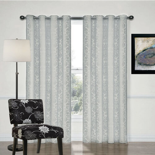 Newcastle Silver Grey Damask Eyelet Curtains