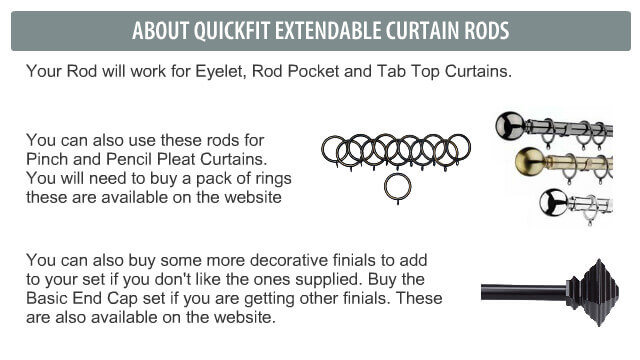 Your Rod will work for Eyelet, Rod Pocket and Tab Top Curtains.