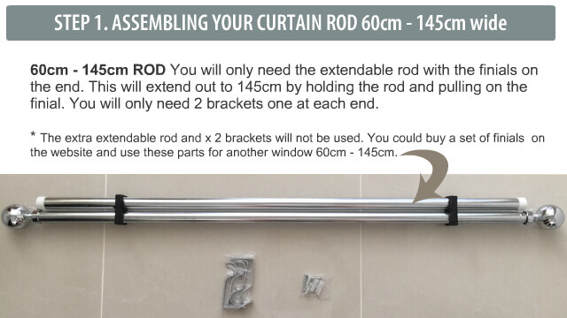 How to assemble the rod for a 80cm to 145cm wide window
