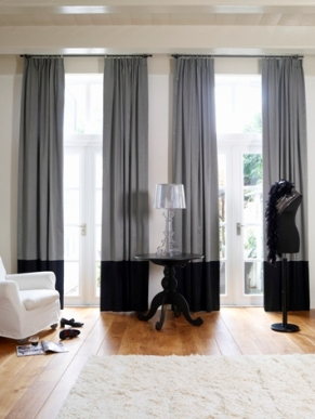 grey and black colour block curtains