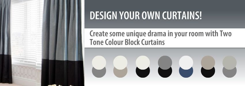 Create some unique style to your room with two coloured custom curtains