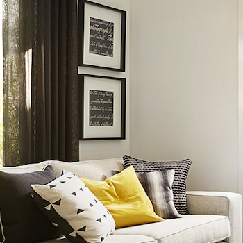 Grey Black and yellow interior: Carlisle Homes