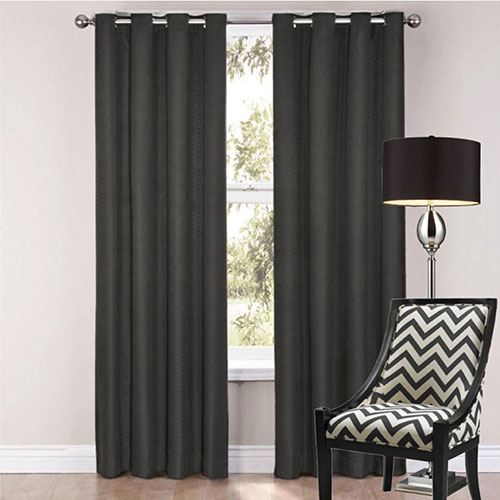 Black Sorrento Eyelet Curtains
